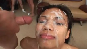 Lucy Thai a lot of sperm flows down her face Bukkake