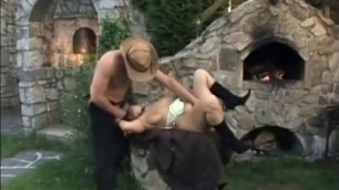 Sexual milf with a natural body to sit on the dick of a man outdoor sex