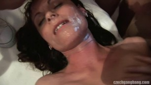 Tamara Brunette with a good body gets a lot of dick and sperm GangBang